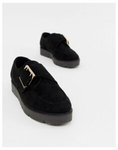 London Rebel chunky flat shoes-Black