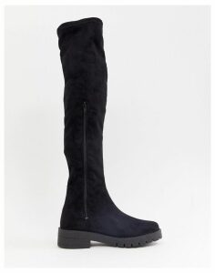 Office Knuckles Flat Over The Knee Boot-Black