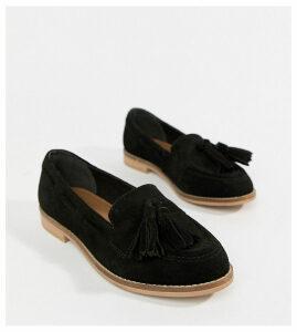 ASOS DESIGN Messenger suede tassel loafers-Black