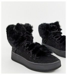Bershka faux fur lined boot-Black