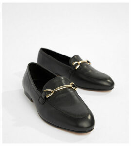 ASOS DESIGN Wide Fit Moment leather loafers-Black