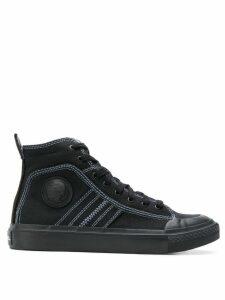 Diesel high top sneakers in bicolour cotton - Black
