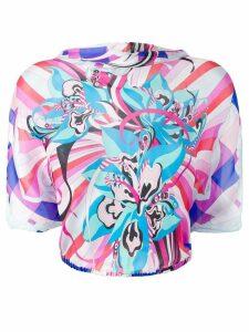 Emilio Pucci Merida Print Cropped Silk Blouse - Pink