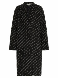 Stella McCartney logo print oversized coat - Black