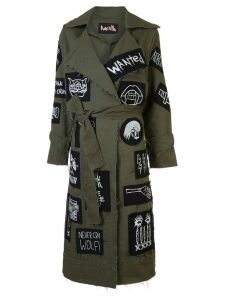 Haculla patch detail belted coat - Green