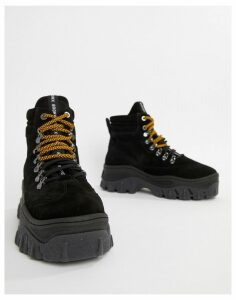 Bronx Jaxstar Hiking black suede chunky hightop trainers