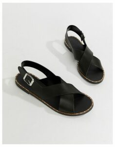 Depp Leather Flat Sandals-Black