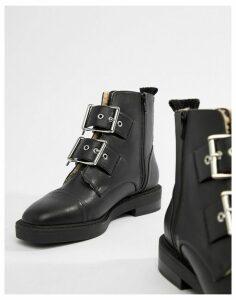 ASOS DESIGN Appreciate faux shearling multi buckle boots-Black