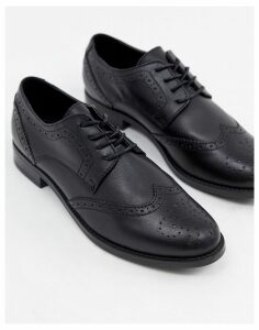ALDO Leather Brogue Shoes-Black