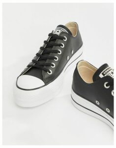 Converse Chuck Taylor All Star leather platform low trainers in black