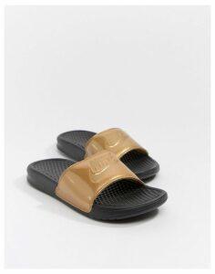 Nike Black And Gold Benassi Jdi Logo Sliders