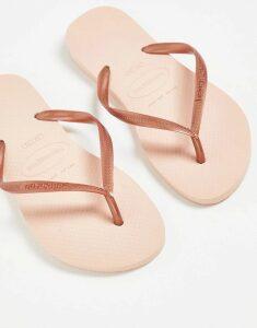Havaianas Slim Logo Metallic Flip Flops-Gold
