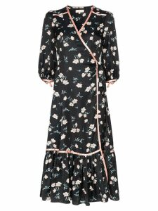 byTiMo floral print contrast trim wrap dress - Black