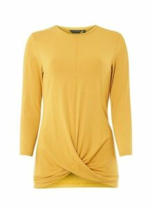 Womens **Tall Yellow Wrap Top- Orange, Orange