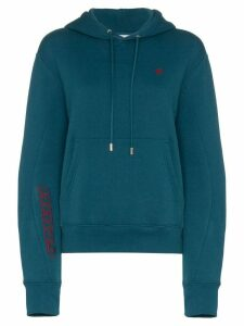 GmbH x Browns Dag Cropped Embroidered Hooded Jumper - Blue
