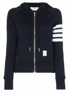 Thom Browne Zipped stripe hoodie - Blue
