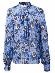 Diane von Furstenberg floral tie neck blouse - Blue