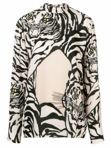 Valentino tiger printed blouse - NEUTRALS