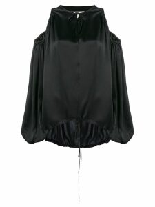 Marques'Almeida satin cold-shoulder blouse - Black