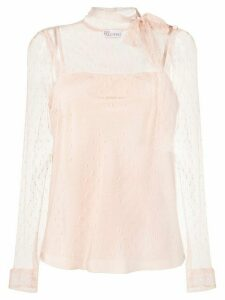 Red Valentino polka dot lace blouse - NEUTRALS