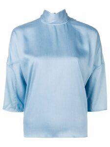 Tibi cropped sleeve blouse - Blue
