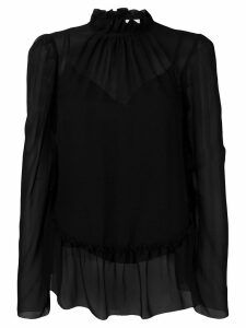 See by Chloé sheer ruffle trim blouse - Black