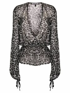 Fisico sheer leopard blouse - Black