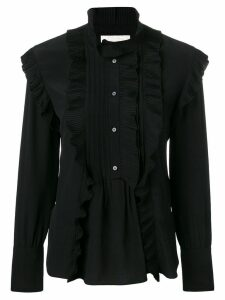 Chloé pleated trim high neck blouse - Black