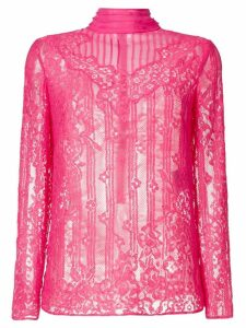 Valentino mock neck lace blouse - PINK