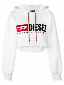 Diesel Cropped logo hoodie - White