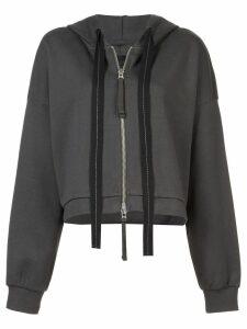 Thom Krom cropped zip front hoodie - Green