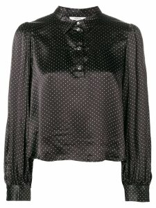 GANNI half buttoned cropped shirt - Black