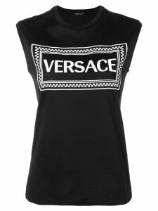 Versace logo embroidered tank top - Black