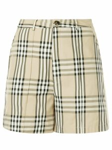 Andrea Crews snap button checked shorts - Brown