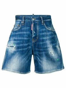 Dsquared2 paint splatter high rise shorts - Blue