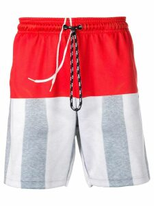 Adidas Originals By Alexander Wang colour block track shorts - Red