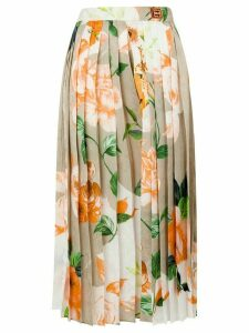 Off-White floral print pleated skirt - NEUTRALS