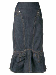 Marine Serre denim straight skirt - Blue