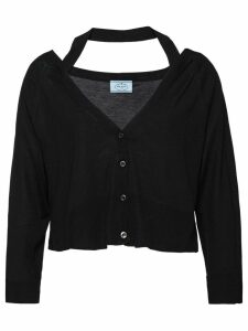 Prada neck ribbon cardigan - Black