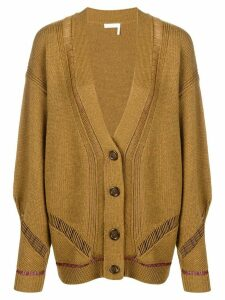 See By Chloé longline sheer stripe cardigan - Green