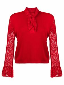 Christopher Kane lace trim cardigan - Red