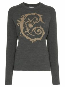 Chloé logo intarsia knitted wool blend jumper - Grey