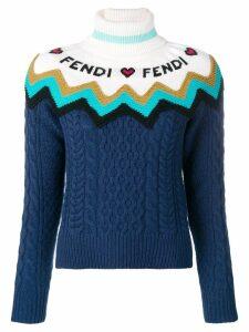 Fendi knitted logo sweater - Blue