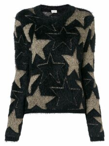 Saint Laurent star motif textured jumper - Black