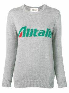 Alberta Ferretti slogan jacquard knit jumper - Grey