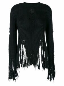 Balmain distressed ribbed jumper - Black