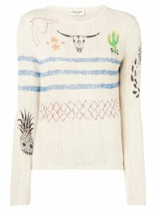 Saint Laurent Arizona print sweater - NEUTRALS