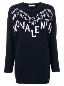 Valentino cashmere intarsia logo jumper - Blue