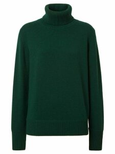 Burberry Embroidered Crest Cashmere Roll-neck Sweater - Green