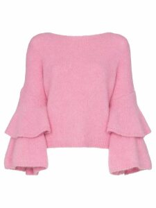 byTiMo knitted flamenco sleeve jumper - Pink